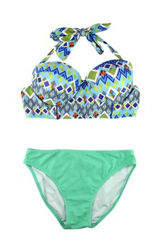 Contrast Diamond Print Two Piece Swimwear Set
