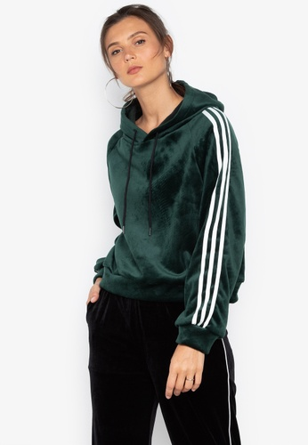 Chase Fashion green Crop Suede Sport Hoodie With Stripe Lining 2CA9FAAE2EA62BGS_1
