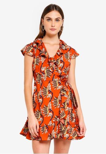 Glamorous orange and multi Floral Print Ruffle Dress 45442AADE639BDGS_1