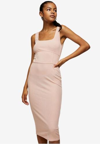 TOPSHOP pink Pink Seamed Bodycon Midi Dress 69A0CAA28246B1GS_1