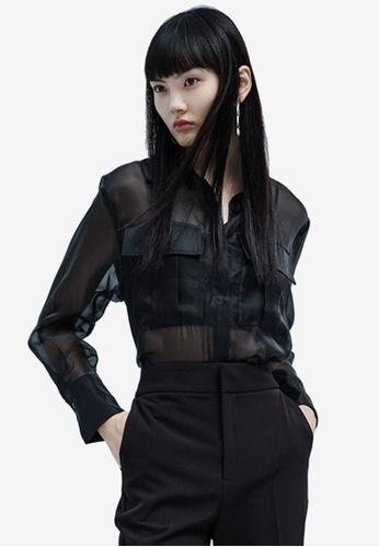 URBAN REVIVO black Casual Shirt A22C5AAF4777C2GS_1