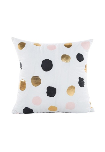 DILAS HOME black and pink and beige and gold Polka Dot Gold Print Cushion Cover 77833HL3275F77GS_1