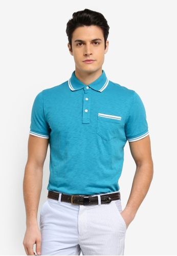 Brooks Brothers blue Red Fleece Slub Pocket Polo Biscay Bay Shirt BFBF4AA683DA3AGS_1