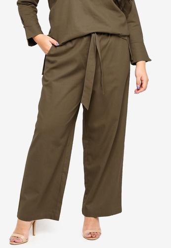 Ex'otico green Plus Size Linen Trousers E2990AA6337082GS_1
