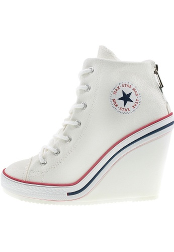 Maxstar Maxstar Women's 777 Back Zipper PU High Wedge Heel Sneakers US Women Size MA168SH37CIOHK_1