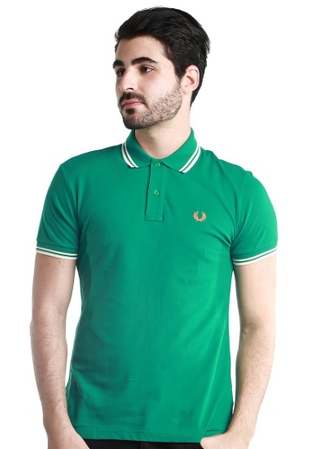 Fred Perry Green Label white and green Twin Tipped Green Polo Shirt FR595AA57WTEMY_1