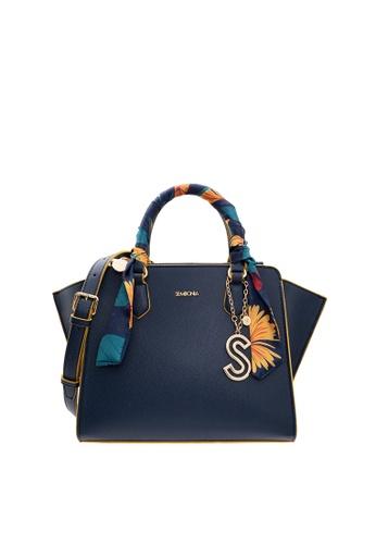 SEMBONIA blue Tropical Floral Double Zip Satchel Bag 99950ACF5F4192GS_1