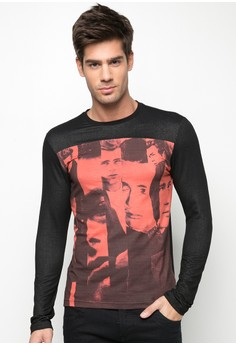 James Dean-Printed Cut and Sew Long Sleeved Shirt