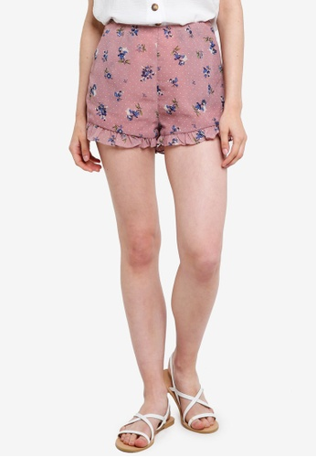 Something Borrowed pink Shorts With Ruffle Detail 0064DAA55BEE8AGS_1
