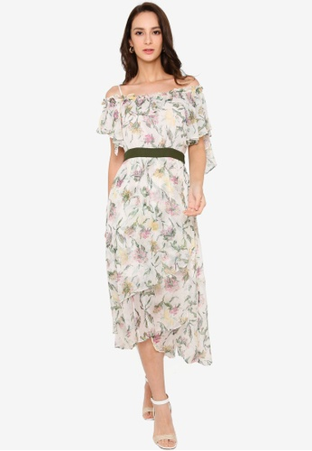 Hopeshow green Diagonal Collar Ruffle Hem Floral Long Dress 335EFAAF19531DGS_1