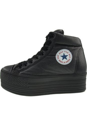 Maxstar Maxstar Women's C50 Padded Lining Hidden Heel Platform PU Sneakers US Women Size MA168SH49CAKHK_1