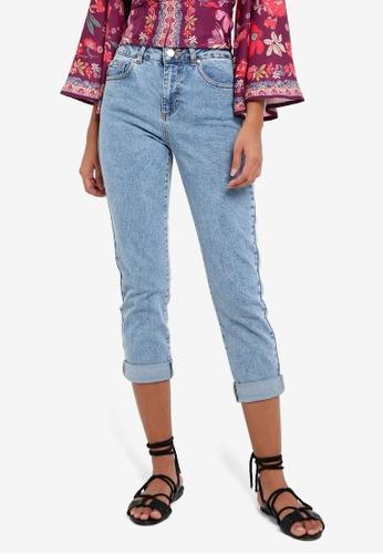 Miss Selfridge blue Petite Acid Wash Mom Jeans MI665AA0RSUAMY_1