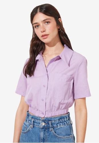 Trendyol purple Elastic Waist Crop Shirt 37126AA2BA7111GS_1