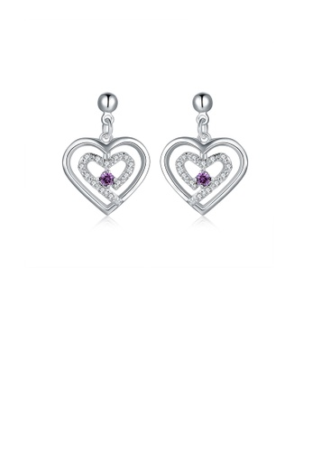 Glamorousky purple Simple and Elegant Heart-shaped Earrings with Purple Austrian Element Crystal 3ACA9ACC06104BGS_1