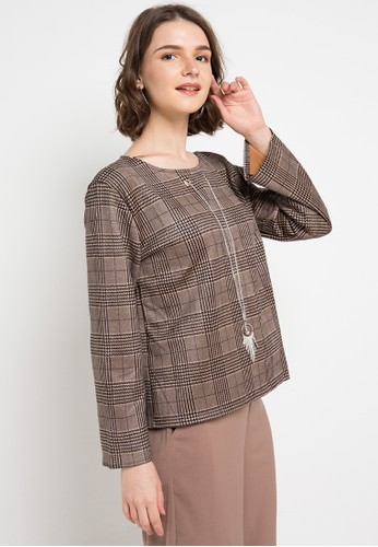 FAME multi and brown Round Neck Blouse 18ABCAA9F11CBCGS_1
