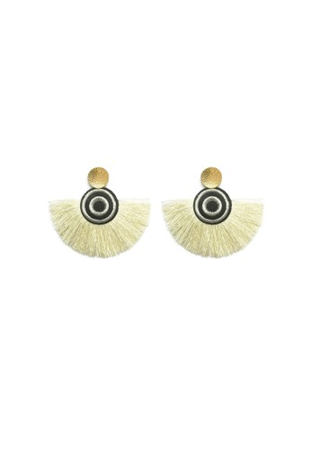La Miina white Selma White And Black Tassel Earrings 67D37AC30BFAC7GS_1