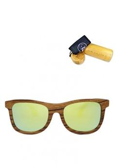 ZebraWood Frame, Golden Yellow Lens, 140mm Wooden Sunglasses