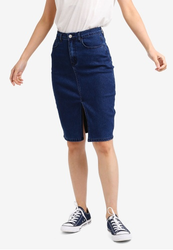 ZALORA BASICS blue Basic Denim Front Slit Skirt 3B9F8AA77F6D6FGS_1