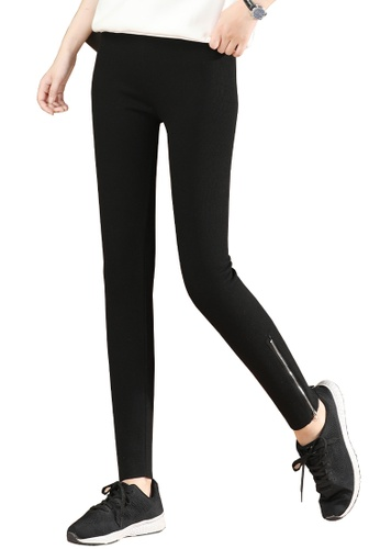 A-IN GIRLS black Elastic Waist Tight-Fitting Warm Trousers (Plus Cashmere) BD746AAE18322FGS_1