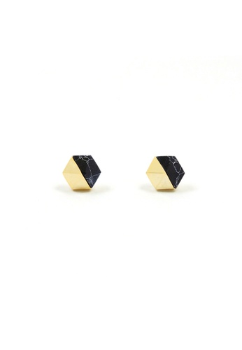 SKEDA black Gold and Marble Ear Studs C35ABACA386E08GS_1