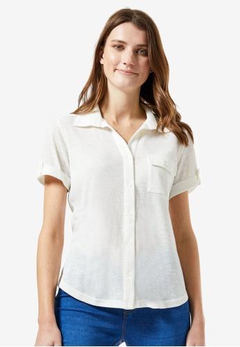 Dorothy Perkins white Cream Short Sleeve Shirt AF29AAA2B73FA8GS_1