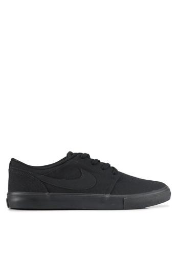 Nike black Men's Nike SB Solarsoft Portmore II Skateboarding Shoes NI126SH0STQWMY_1
