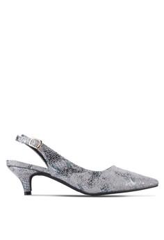 【ZALORA】 Zyana 雙色亮片繞踝低跟鞋