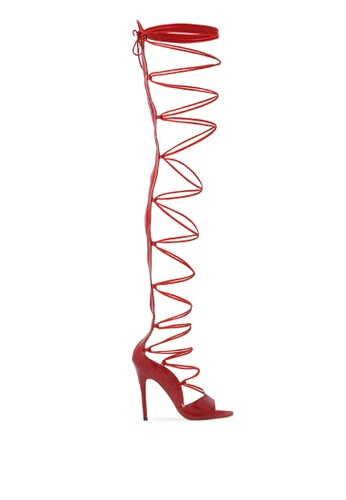 Public Desire red Kiss Lace Up Thigh High Heels 52A2DSH956BFC1GS_1