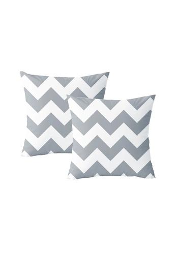 Propstation Velvet Silk Chevron Throw Pillow Cushion Cover Grey - Set of 2 1336AHL3083598GS_1