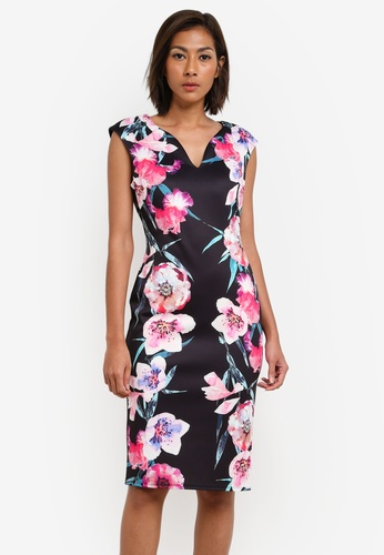 Wallis black Black Floral Print Shift Dress WA800AA0SACOMY_1