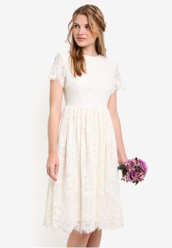 ZALORA white Bridesmaid Open Back Midi Fit & Flare Dress 1301AAA298B66CGS_1