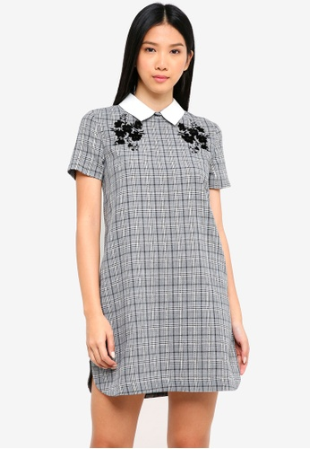 ZALORA grey Collared Shirt Dress With Flocking AF6FCAABE92549GS_1