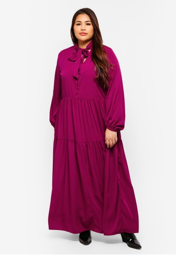 ELVI purple Plus Size Kyra Maxi Smock Dress With Pussybow D81CEAAF34E777GS_1