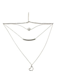 Layered Necklace 3L-09 Open Heart