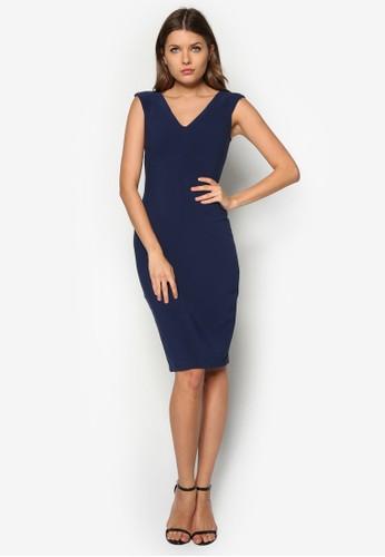 V 領鉛筆連身zalora 手錶 評價裙, 服飾, 洋裝