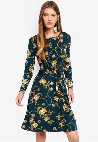 Dorothy Perkins green Green Print Tie Waist Dress EACF9AAD18E984GS_1