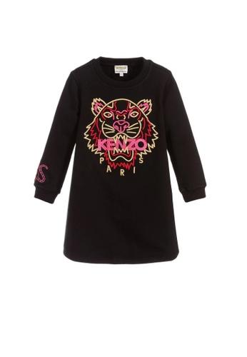 KENZO KIDS black KENZO TIGER GIRLS DRESS 80960KA4F985ECGS_1