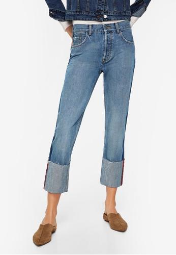 Mango blue Turn-Up Hem Straight Jeans DA3E7AAE1E1CF2GS_1