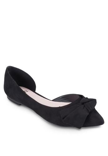 側zalora 心得鏤空尖頭蝴蝶結平底鞋, 女鞋, 鞋