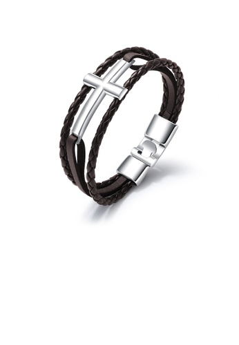 Glamorousky silver Simple Classic 316L Stainless Steel Cross Brown Leather Bracelet 0C3EAACA3A84BCGS_1