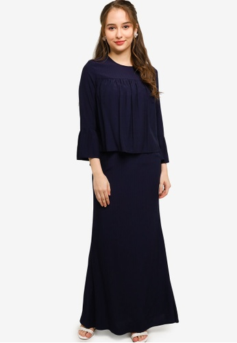 Lubna navy Babydoll Top With Mermaid Skirt BFD5BAA4282186GS_1