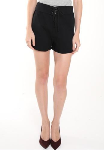 JOVET black Crisscross Tie Front Shorts JO914AA0FM3BSG_1