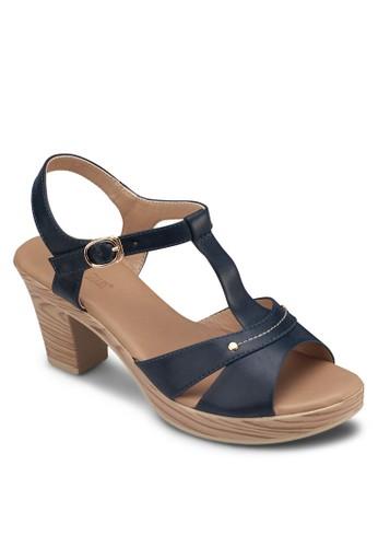 鏤空T 字帶esprit台灣網頁粗跟涼鞋, 女鞋, 鞋