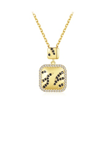 Glamorousky black Fashion Simple Plated Gold Geometric Square Pendant with Cubic Zirconia and Necklace 3C7E8ACD98B6E5GS_1