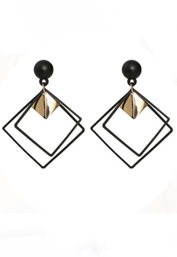 Sunnydaysweety black Rhombus Drop Earrings CA030208BK 2F0A3AC6382225GS_1