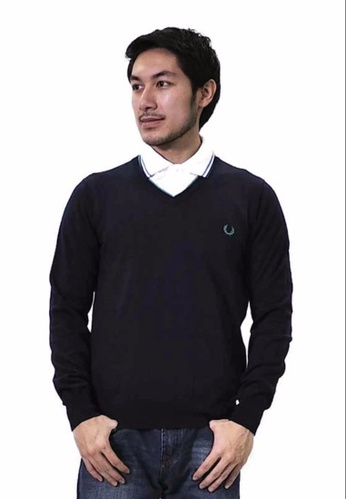 Fred Perry Green Label blue Navy V-Neck Sweatshirt FR595AA27LQIMY_1