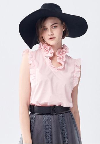 iROO pink Ruffle Vest D5BEBAABDD8900GS_1