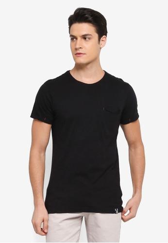 Indicode Jeans 黑色 短袖口袋造型T恤 4CCFAAA2EAA03AGS_1