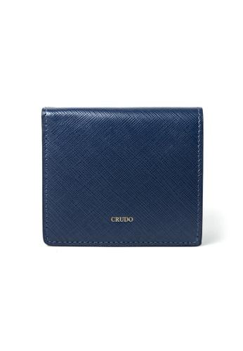 Crudo Leather Craft blue Lucidato Compact Wallet - Saffiano Blue 00763ACF46FAA7GS_1