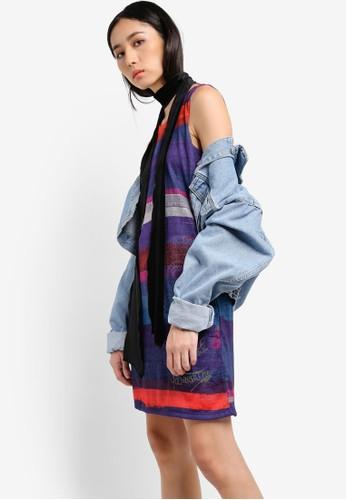 多色條紋無袖zalora 心得 ptt連身裙, 服飾, 洋裝